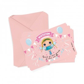 6 party invitations + envelopes Fairy by Isabelle Kessedjian