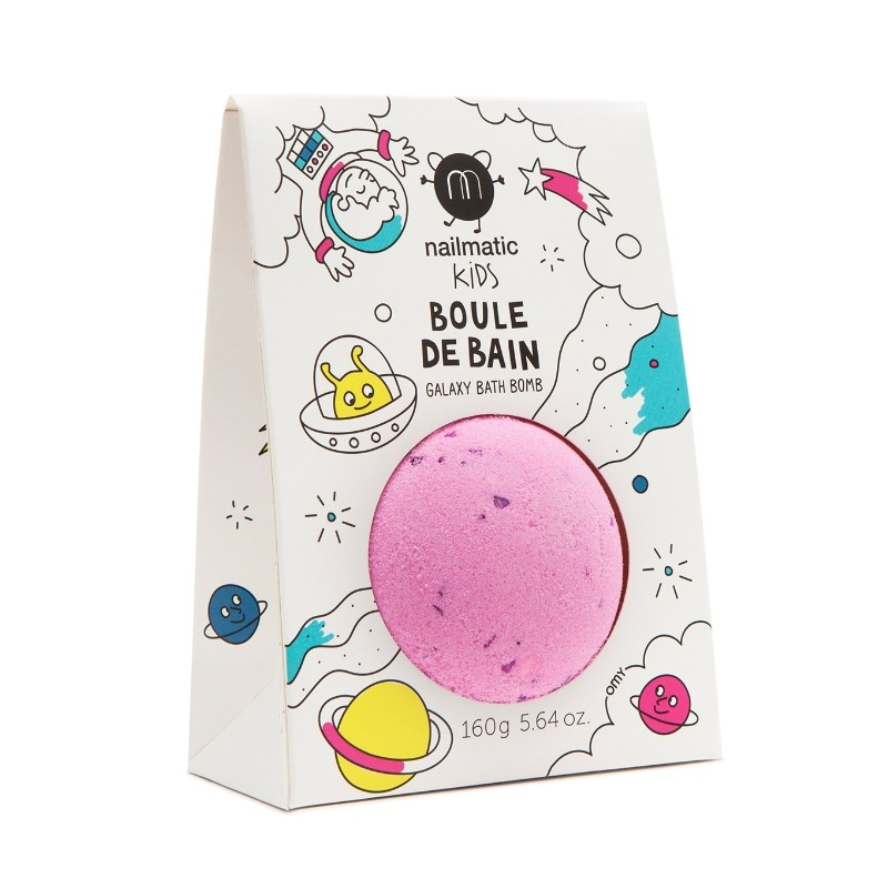 Galaxy bath bomb for a pink bath by Nailmatic Kids