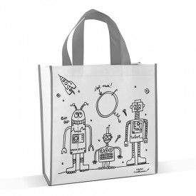 Shopping bag to colour Robots by Marielle Bazard