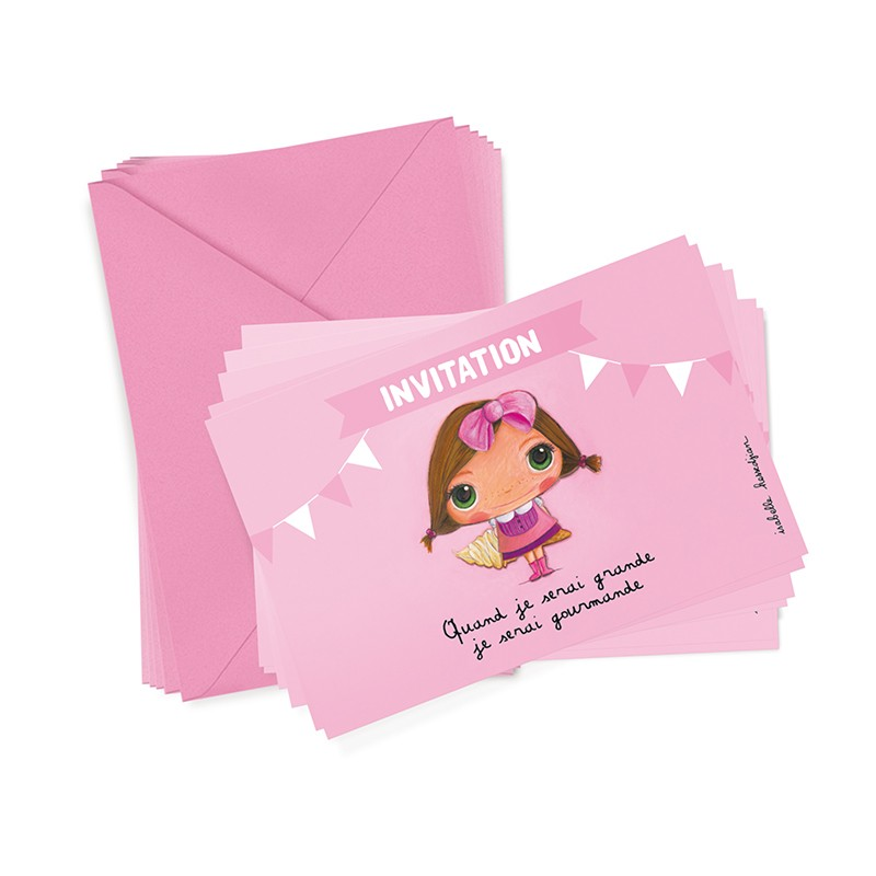 6 party invitations + envelopes Greedy by Isabelle Kessedjian